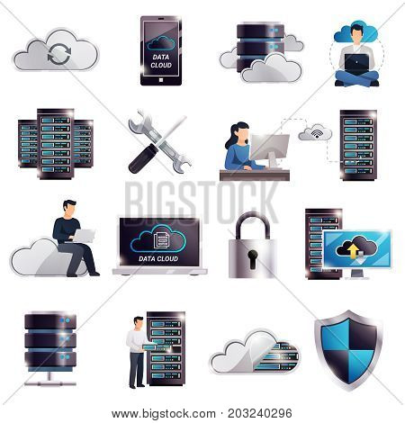 Colored 3d datacenter hosting server cloud icon set with technology and digital elements vector illustration