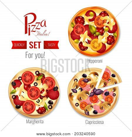 Pizza in assortment set including margherita, pepperoni, capricciosa with tomatoes, olives, basil, mozzarella, salami isolated vector illustration