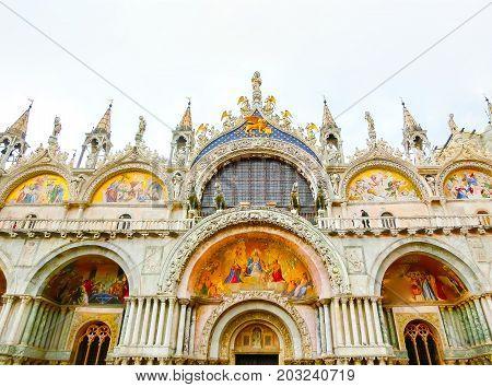 Venice, Italy - May 04, 2017: The detail of the St. Mark Basilica at Venice, Italy on May 04, 2017