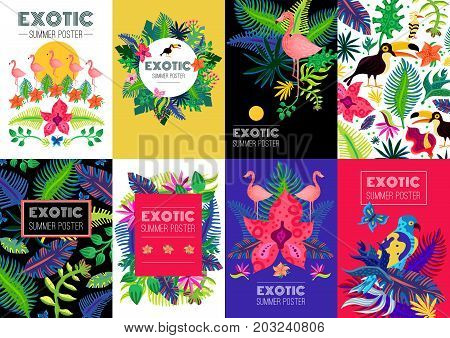 Exotic tropical summer vacation 8 advertisement colorful background banners collection with palm leaves flamingo birds isolated vector illustration