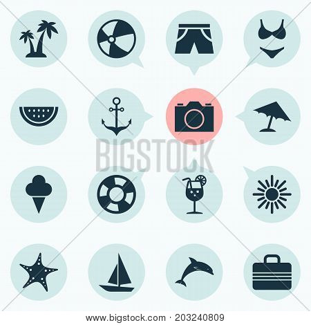 Season Icons Set. Collection Of Sunny, Balloon, Bikini And Other Elements