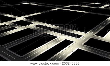 Street road with city lantern at night. Top view of road junction. 3D rendering.