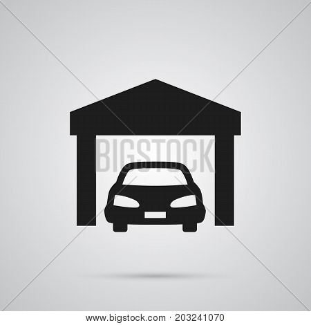 Vector Car Element In Trendy Style.  Isolated Garage Icon Symbol On Clean Background.
