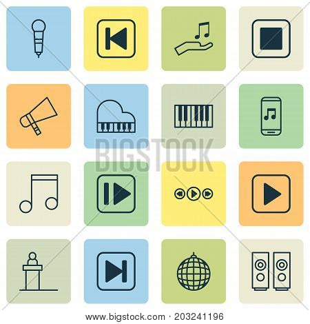 Audio Icons Set. Collection Of Octave, Bullhorn, Following Music And Other Elements