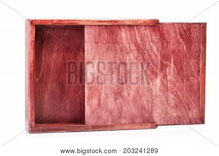 A close-up picture of a wine-colored wooden box isolated on a white background. Opened empty container. A device for delivering of small items. Cargo delivering. Business concept. Copy space.