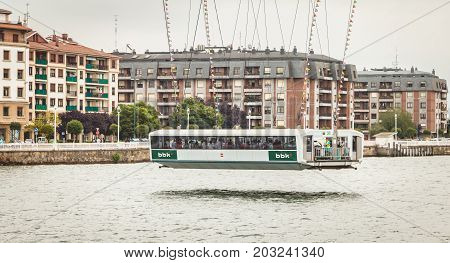 GETXO near BILBAO - July 20 2016 - view of the capsule under the Viscaya transporter bridge which is a major tourist draw for the Getxo suburb of Bilbao SPAIN