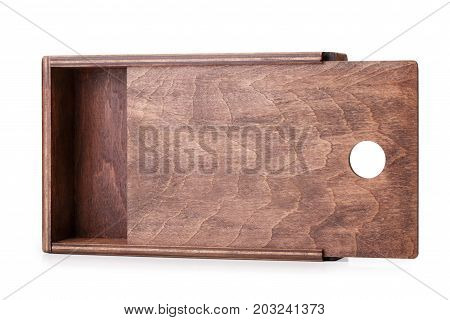 A close-up picture of a dark chocolate wooden box isolated on a white background. Opened empty container. A device for delivering of small items. Cargo delivering. Business concept.