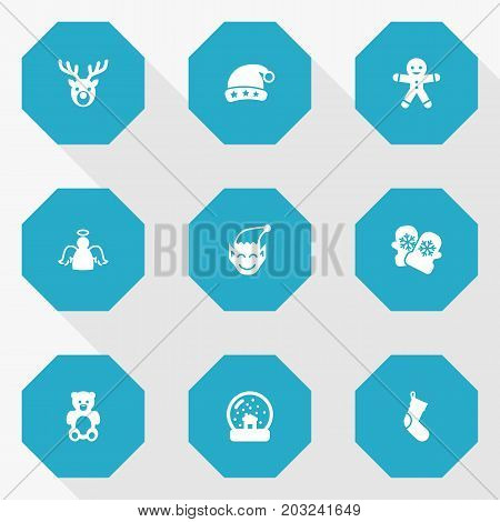 Collection Of Socks, Bear, Archangel And Other Elements.  Set Of 9 Year Icons Set.
