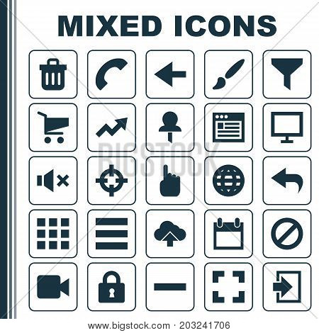 User Icons Set. Collection Of Screenshot, Earth, Cursor And Other Elements