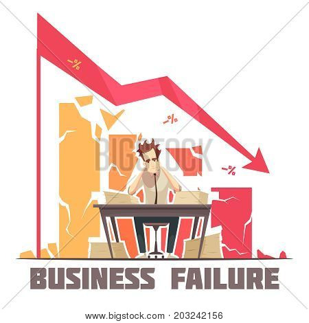 Business failure retro cartoon poster with frustrated businessman sitting in office under descending diagram arrow vector illustration