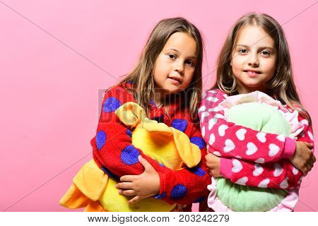 Girls With Loose Hair Hug Pillows. Party Time Concept