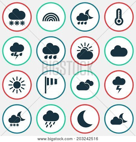 Climate Icons Set. Collection Of Flag, Douche, Rainy And Other Elements