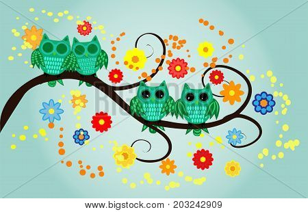 Four Green Owls, Two Sleeping, Two Awake On A Fantastic Tree Branch, Decorated With Flowers.