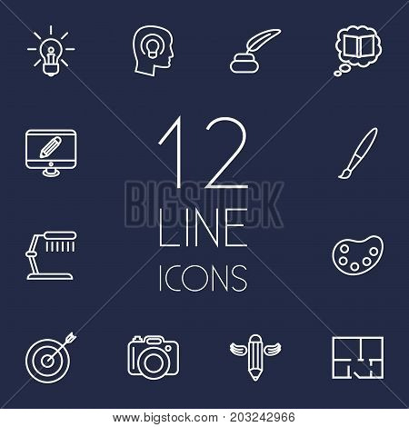 Collection Of Inkwell With Pen, Knowledge, Idea And Other Elements.  Set Of 12 Creative Outline Icons Set.