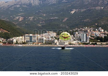 BUDVA, MONTENEGRO - AUGUST 07, 2017:View from the sea to the village of Becici. Budva Montenegro.