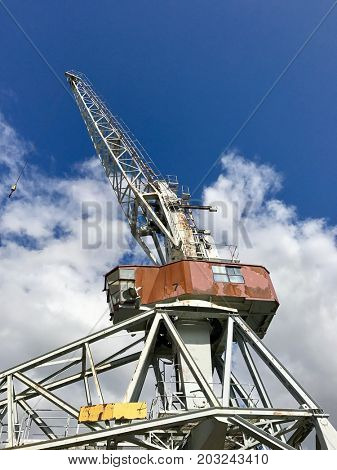 Rusted old port cargo crane
