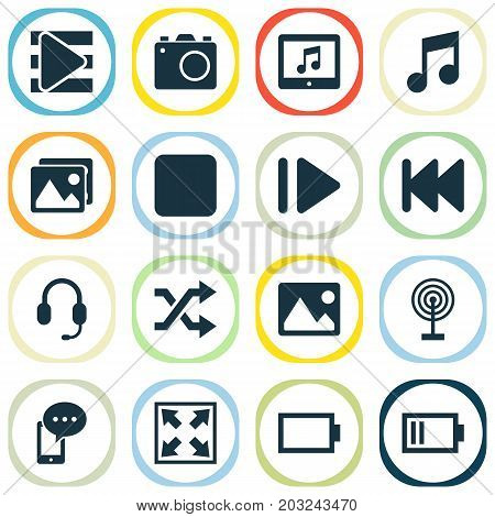 Music Icons Set. Collection Of Slow Forward, Musical Note, Headset And Other Elements