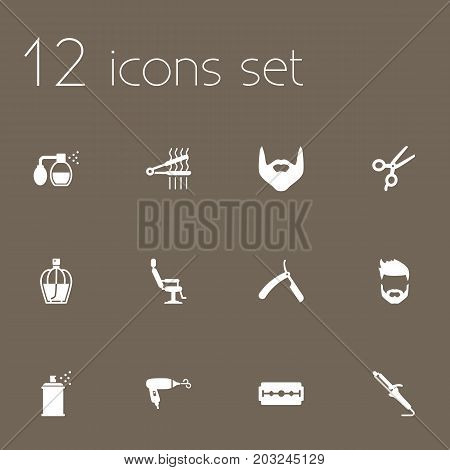 Collection Of Blow-Dryer, Razor, Hipster And Other Elements.  Set Of 12 Shop Icons Set.