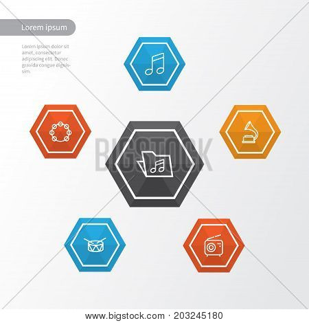 Multimedia Outline Icons Set. Collection Of Wireless, Melody, Barrel And Other Elements