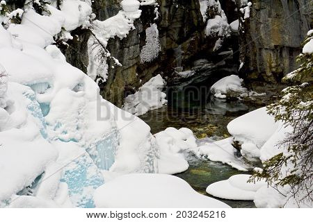 Icy blue snow in Marble Canyon in winter