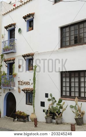 PENISCOLA, SPAIN - JULY 23, 2017: Typical street of the old town of Peniscola Castellon Spain.