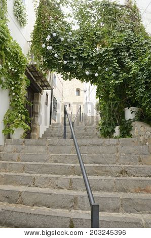 Stairs at steep path in Peniscola Castellon Spain.