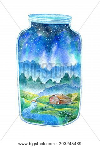 House and river in bank.Landscape of a forest, boat, sky and stars.Watercolor hand drawn illustration.