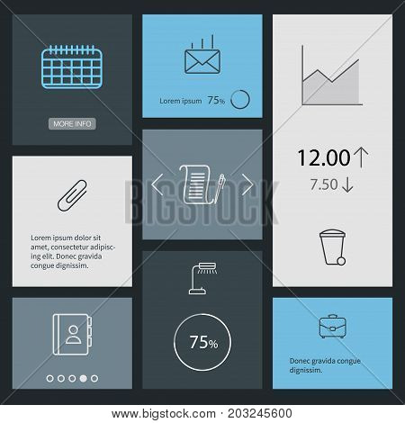 Collection Of Agreement, Recycle Bin, Post And Other Elements.  Set Of 8 Bureau Outline Icons Set.