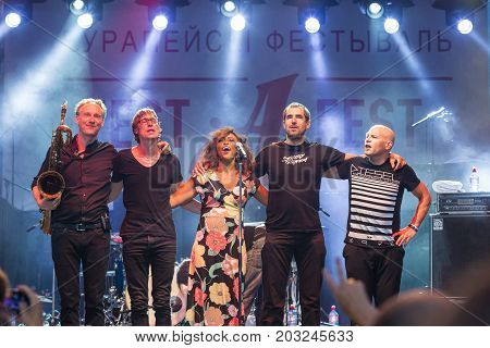 Minsk Belarus-August 12 2017: World Renowned Jazz Ensemble De-Phazz Performing at A-Fest Music Festival on August 12 2017 in Minsk Republic of Belarus.