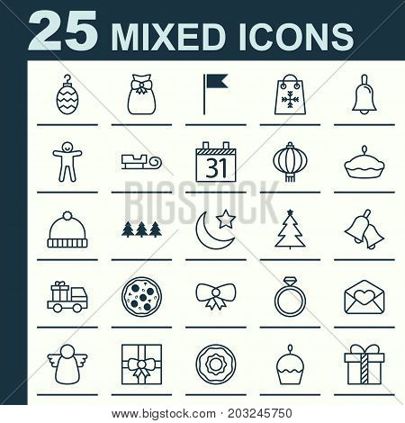 Year Icons Set. Collection Of Lorry Birthday, Knitted Cap, Birthday Cake And Other Elements