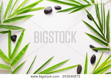 Bamboo leaf background. White paper with tropical leaf ornament. Green bamboo leaf and sea beach pebbles flat lay. Blank page notepad top view. Natural spa or beauty banner template with text place