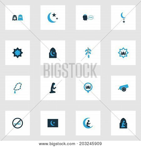 Ramadan Colorful Icons Set. Collection Of Praying, Mussulmans, Beads And Other Elements