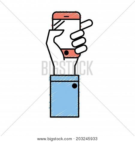 technology smartphone in the hand to digital communication vector illustration