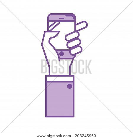 silhouette technology smartphone in the hand to digital communication vector illustration