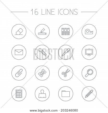 Collection Of Drawing, Eraser, Scissors And Other Elements.  Set Of 16 Stationery Outline Icons Set.