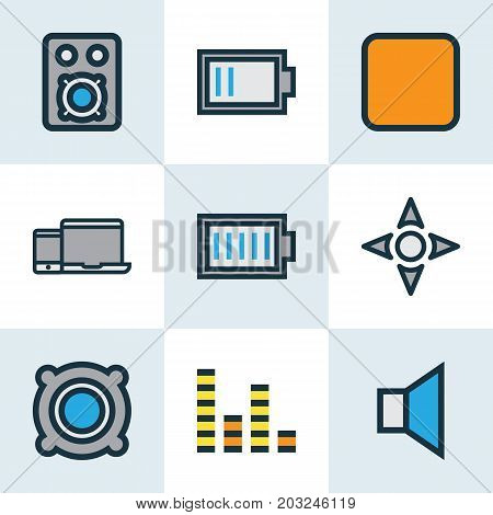 Media Colorful Outline Icons Set. Collection Of Devices, Amplifier, Pause And Other Elements