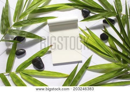 Green bamboo leaf background. White sketchbook page notebook mockup. Green bamboo leaf and sea beach pebbles flat lay. Blank paper notepad top view. Natural spa beauty banner template with text place