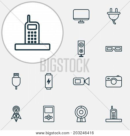 Icons Set. Collection Of Spectacles, Photo Apparatus, Broadcast And Other Elements