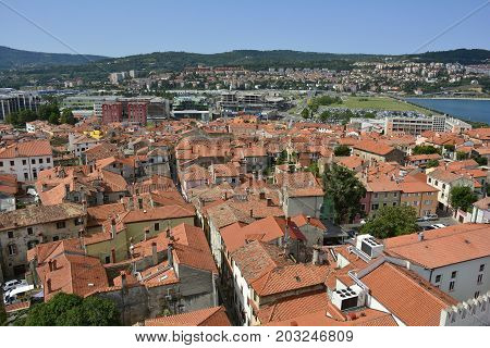 An aerial view of the historic Slovenian coastal town of Koper taken from the top of Koper Cathedral (Cathedral of the Assumption of the Blessed Virgin or Stolna cerkev Marijinega Vnebovzetja.