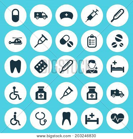 Drug Icons Set. Collection Of Dental, Spike, Cure And Other Elements