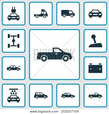Car Icons Set. Collection Of Auto, Car, Fixing And Other Elements