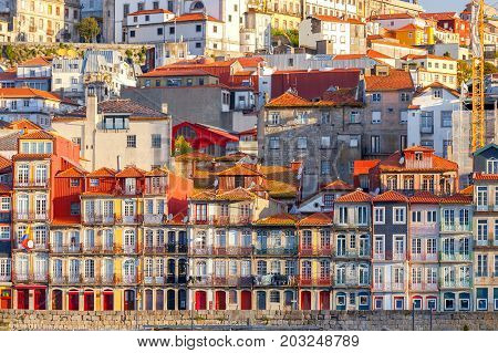 View of old medieval colorful houses along the Douro River embankment. Porto. Portugal.