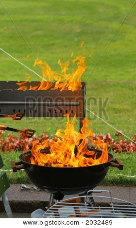 Barbecue And Flames