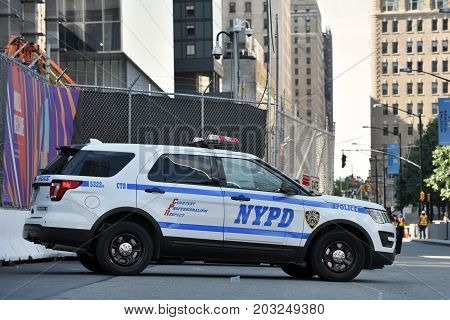 NEW YORK CITY USA - AUG. 23 : NYPD New York Police Department vehicle on the street in Manhattan on August 23 2017 in New York City NY. Manhattan is the most densely populated borough of New York City.
