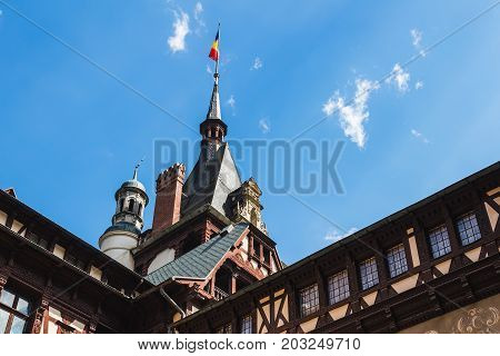 Sinaia Romania - june 21 2017: Architectural details of Peles castle at Sinaia town in Romania summer residence of Romanian royal family.