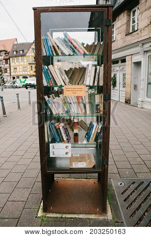 Furth, Germany, December 28, 2016: Books. Street public library. Education in Germany Lifestyle Everyday life in Europe
