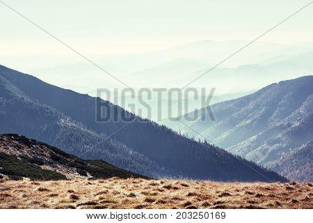 Low Tatras mountains Slovak republic. Travel destination. Natural scene. Hiking theme. Beauty in nature. Retro photo filter.