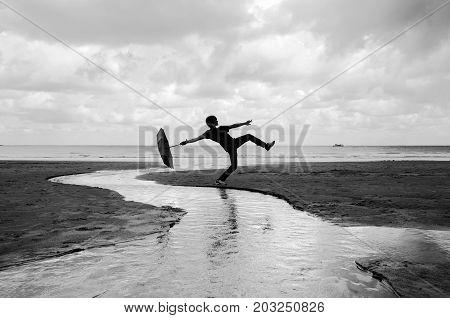 Silly Walks On A Wet Beach