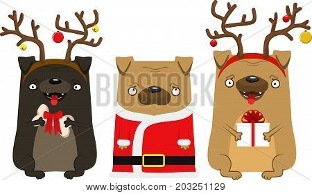 Happy New Year's Dog. Symbol Of The Year 2018. Lovely Pug With Deer Horns And Pug Santa Claus.