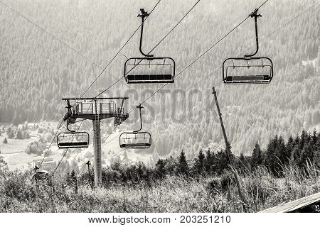 Cableway Donovaly Slovak republic. Black and white photo. Mountains scene.